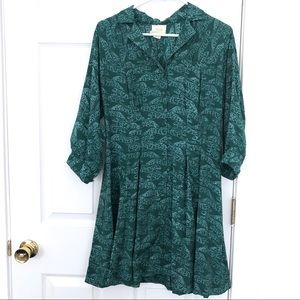 Maeve Anthropologie Green Cheetah leopard dress M